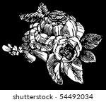 woodcut roses   Shutterstock .eps vector #54492034