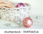 rose quartz christmas balls.... | Shutterstock . vector #544936516
