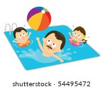 father and kids playing in a... | Shutterstock .eps vector #54495472
