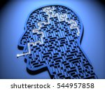 Stock photo concept of mental health human head in shape of maze or labyrinth d rendering 544957858