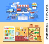 supermarket and e commerce... | Shutterstock .eps vector #544975846