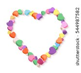 colorful hearts candy frame for ... | Shutterstock .eps vector #544987582