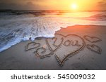 The Word Love In The Sea On Th...