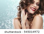 brunette girl with long and... | Shutterstock . vector #545014972