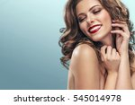 brunette girl with long and... | Shutterstock . vector #545014978