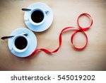 couple white cups with coffee ... | Shutterstock . vector #545019202