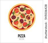 pizza with sausage tomato bell... | Shutterstock .eps vector #545036428