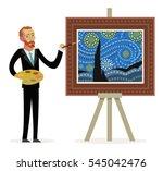 impressionist painter creating... | Shutterstock .eps vector #545042476