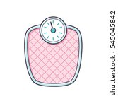pink bathroom weight scale icon ... | Shutterstock .eps vector #545045842