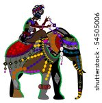 woman and the elephant in the... | Shutterstock .eps vector #54505006