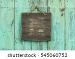 blank wood sign hanging by rope ... | Shutterstock . vector #545060752
