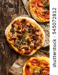 mushroom pizza with chanterelle ... | Shutterstock . vector #545072812