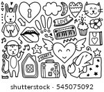 Doodles Cute Elements Black Vector Coloring Stock Royalty Free 545075092