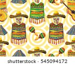 mexican seamless music pattern... | Shutterstock .eps vector #545094172