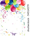 colorful party balloons with... | Shutterstock .eps vector #54514579