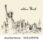 new york city skyline with... | Shutterstock .eps vector #545149996