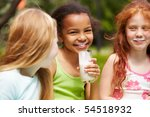portrait of cute girl drinking... | Shutterstock . vector #54518932