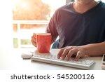 man's hands using laptop for... | Shutterstock . vector #545200126