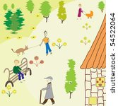 street scene with people  trees ... | Shutterstock .eps vector #54522064