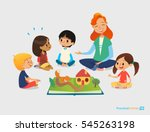 female teacher tells fairy... | Shutterstock .eps vector #545263198