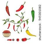 chilli peppers vector set art... | Shutterstock .eps vector #545301082