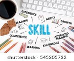skill concept. white office desk | Shutterstock . vector #545305732