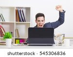 male young celebrating with... | Shutterstock . vector #545306836