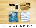 flat lay clothes and... | Shutterstock . vector #545314318
