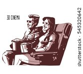 happy couple sitting in movie... | Shutterstock .eps vector #545320642