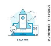 startup flat  thin line concept ...   Shutterstock .eps vector #545340808