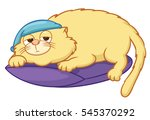 lazy cat with night cap lying... | Shutterstock .eps vector #545370292