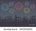 exploding colorful fireworks... | Shutterstock .eps vector #545393692