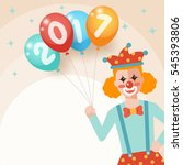 clown holding bunch of colorful ... | Shutterstock .eps vector #545393806