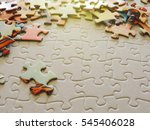 Stock photo selective focus of pieces puzzle jigsaw puzzle background 545406028
