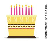 birthday cake with candles icon ... | Shutterstock .eps vector #545415106