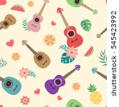 ukulele hawaiian guitar with... | Shutterstock .eps vector #545423992