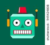 robot head logotype in flat... | Shutterstock .eps vector #545424808