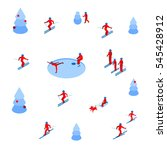 lot of people skiing and... | Shutterstock .eps vector #545428912