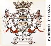 heraldic nautical logotype or... | Shutterstock .eps vector #545433202