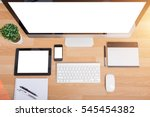 top view monitor computer pc ... | Shutterstock . vector #545454382