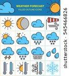 weather forecast line icons set ...