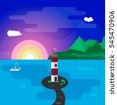 lighthouse at sunset | Shutterstock .eps vector #545470906