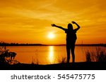 silhouette happy yong beautiful ... | Shutterstock . vector #545475775