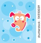 cute sea horse doodle greeting... | Shutterstock .eps vector #54550039