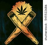 two crossed weed joints or... | Shutterstock .eps vector #545522686