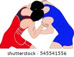 two young men wrestlers during... | Shutterstock .eps vector #545541556