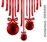 Red Christmas balls and ribbon - stock photo