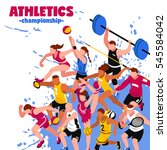 colorful sport isometric poster ... | Shutterstock .eps vector #545584042