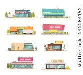 store buildings set with mall... | Shutterstock .eps vector #545584192