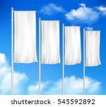four white blank pole flags set ... | Shutterstock .eps vector #545592892